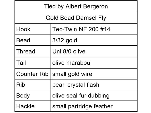 Gold Bead Damsel Fly Menu