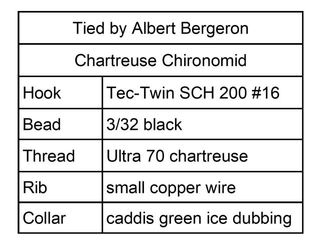 Chartreuse Chironomid Menu